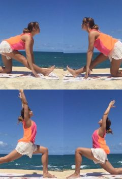Yoga, low lunge, high lunge, half monkey god